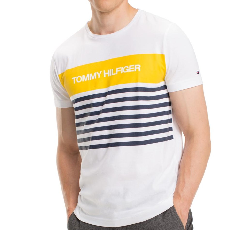 Tommy Hilfiger Wcc Colour Block Stripe Tee - bright white