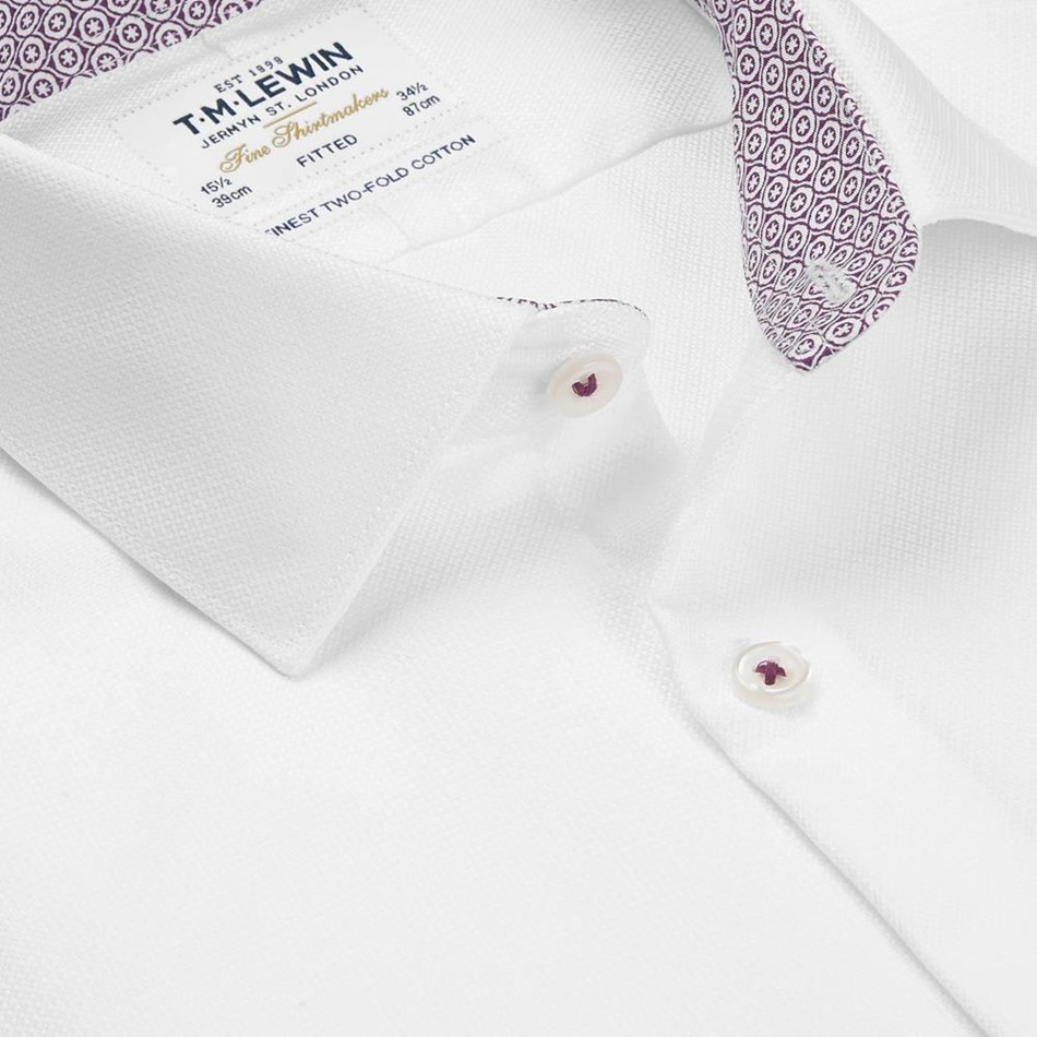 T.M.Lewin Fitted Sc Pln Text Cross White Shirt -