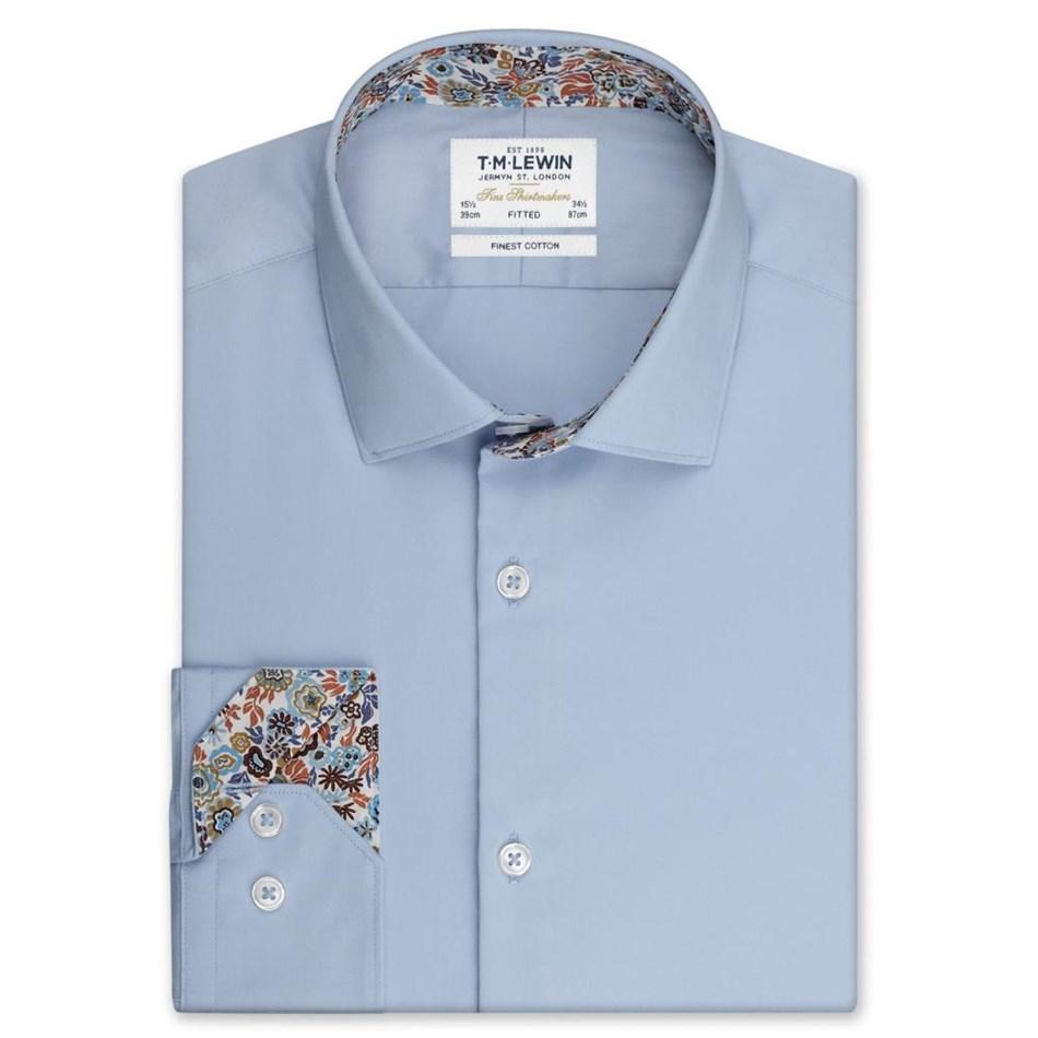 T.M.Lewin Fitted Sc Pln Liberty Trim Blu Shirt - blue