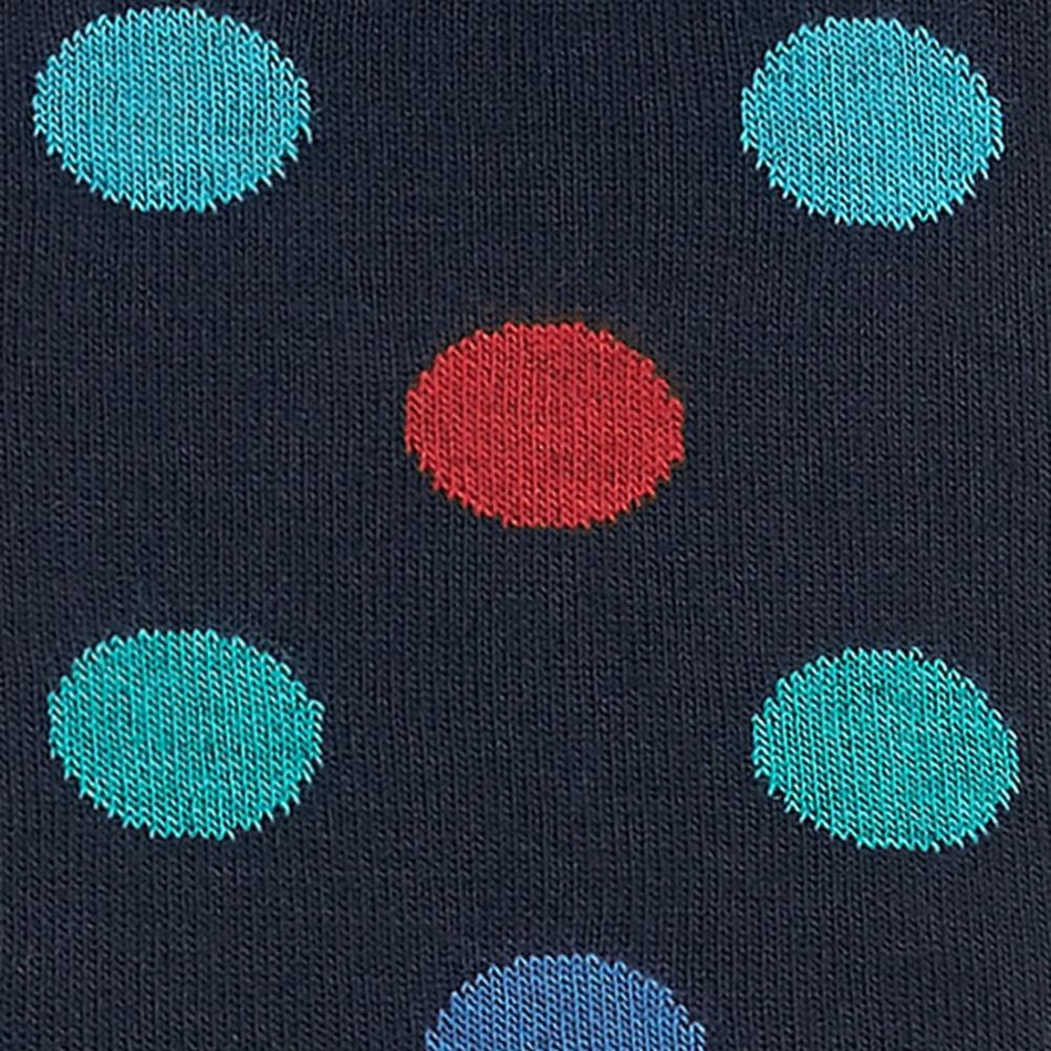 T.M.Lewin Large Multi Dot Nvy Red Teal Sock -