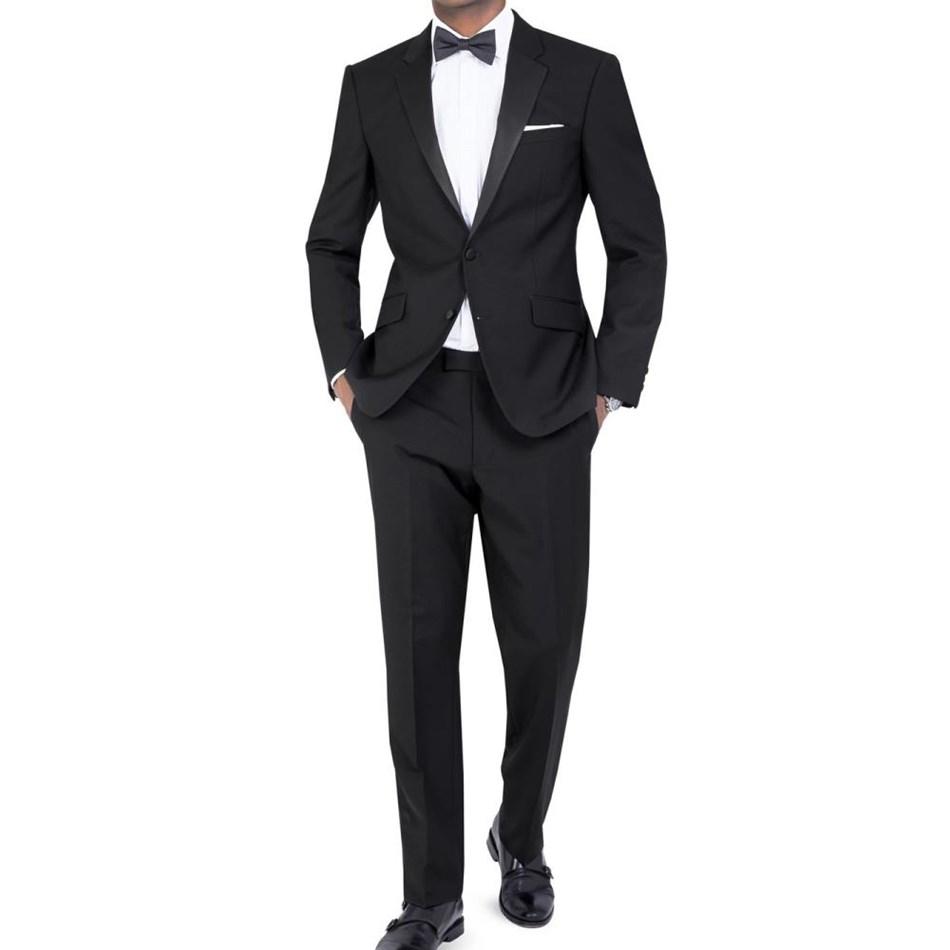 T.M.Lewin Flt Frnt Lancewood Plain Weave Trouser - black grey