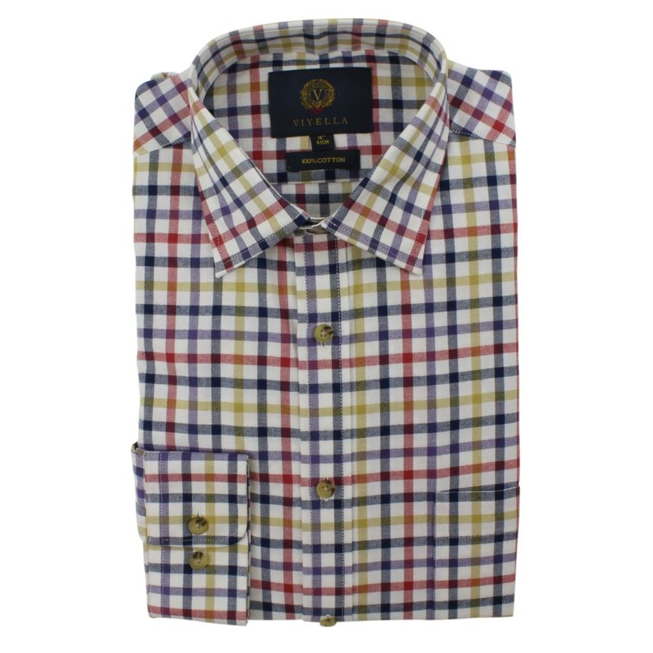 Viyella Club Check Shirt - navy purple