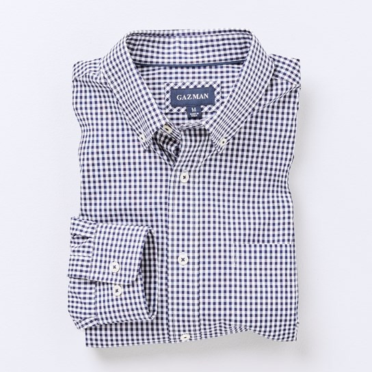 Gazman Easy Care Stretch Gingham - navy