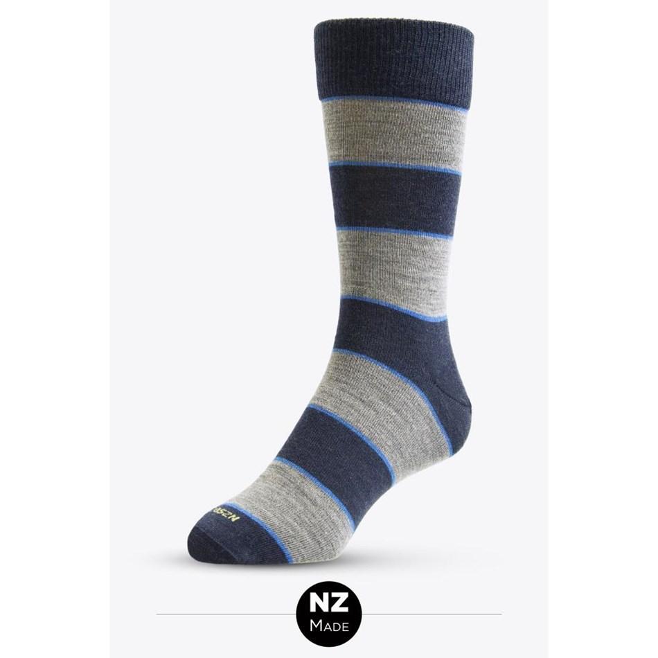 Nz Sock Co Merino Dress Thick Stripe - 747 navy