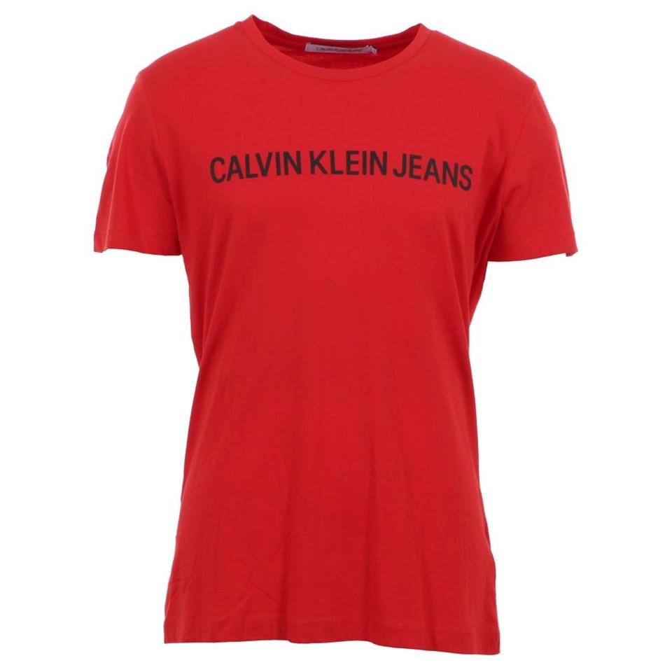 Calvin Klein Instnal Logo Slim Tee Red Ckjm Pol - red