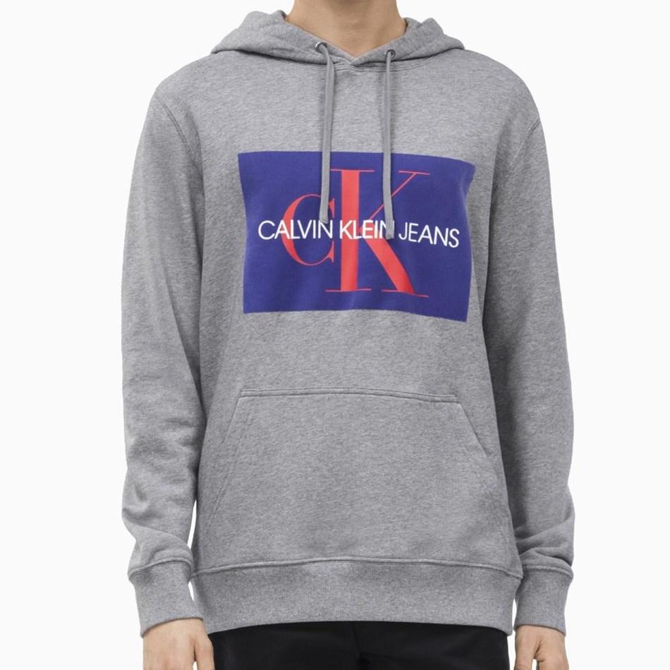 Calvin Klein Monogram Flock Box Hoodie - gryhtr blue