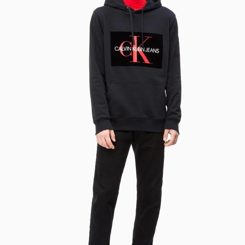 Calvin Klein Mnogrm Flock Box Hoodie Ck Blk Ckjm Swt - ck black