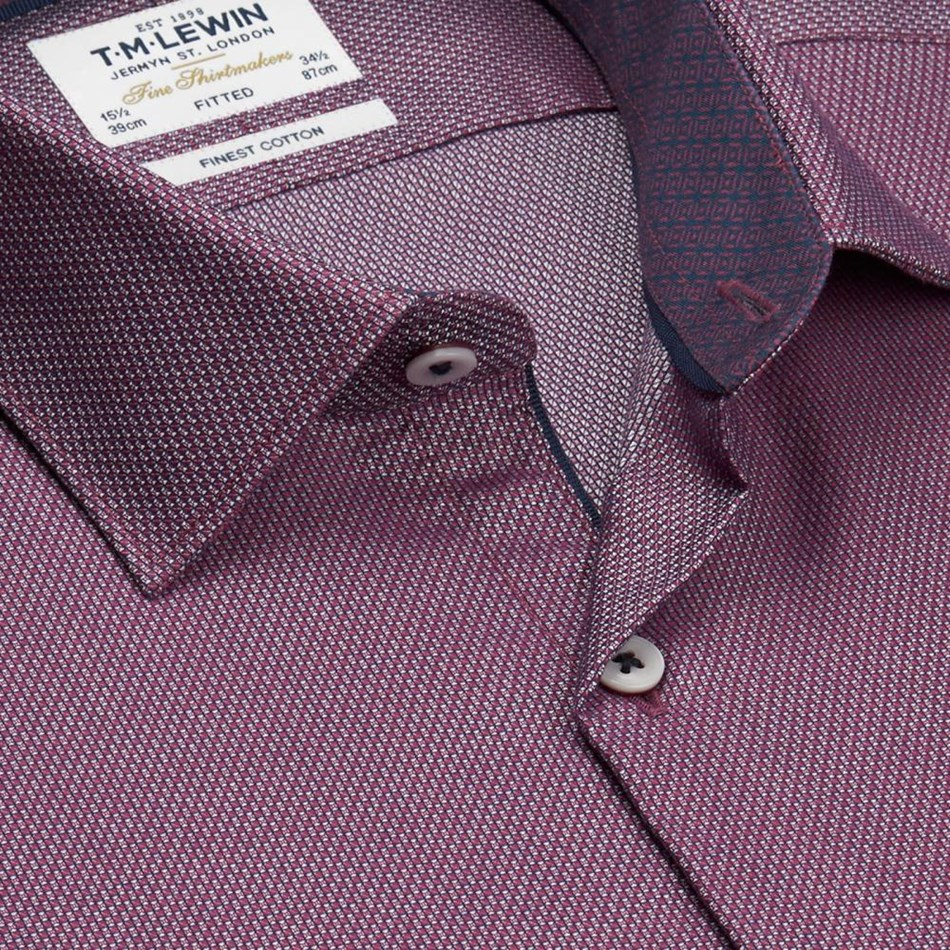 T.M.Lewin Shirt Fitted Single Cuff Semi Plain Burgundy - red