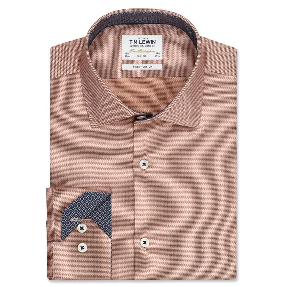 T.M.Lewin Shirt Slim Single Cuff Semi Plain Orange - orange