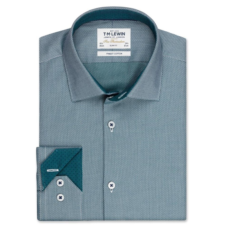 T.M.Lewin Shirt Slim Single Cuff Semi Plain Green - green