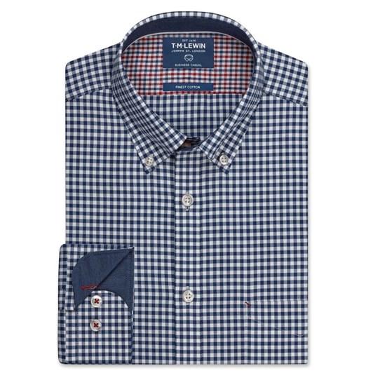 T.M.Lewin Shirt Navy Gingham Twill