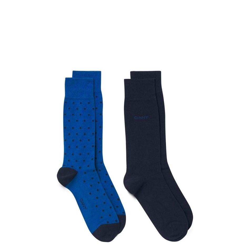 Gant 2-Pack Dot And Solid Socks - 436 blue
