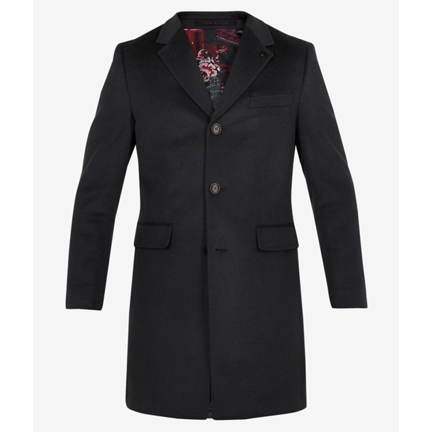 Ted Baker Cashmere 3 Button Overcoat - 00 black