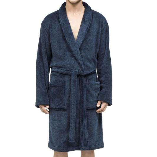 Calvin Klein Plush Robe Navy Heather