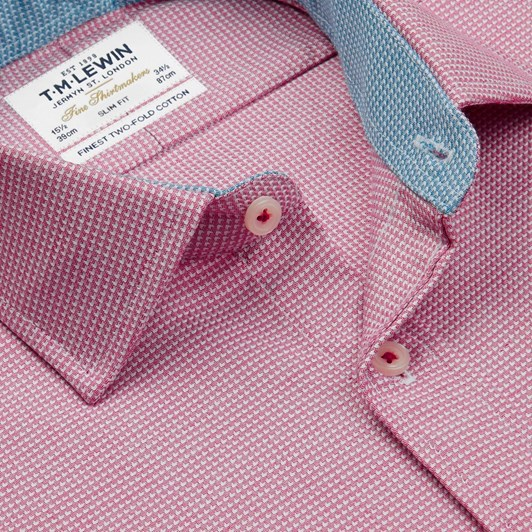 T.M.Lewin Slim Single Cuff Arrow Twill Magenta Shirt