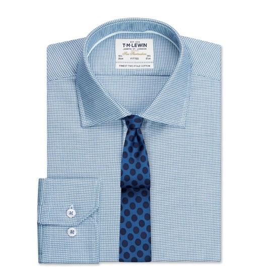 T.M.Lewin Fitted Single Cuff Arrow Twill Navy Shirt