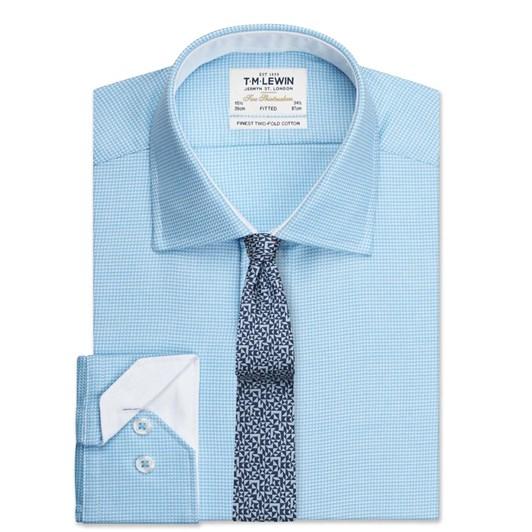 T.M.Lewin Fitted Single Cuff Arrow Twill Blue Shirt