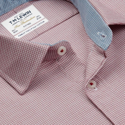 T.M.Lewin Fitted Single Cuff Arrow Twill Red Shirt
