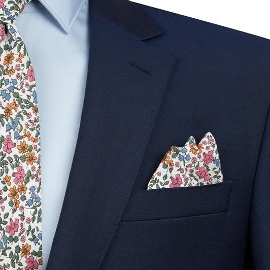 T.M.Lewin Emilias Bloom Blue Pink Pocket Square
