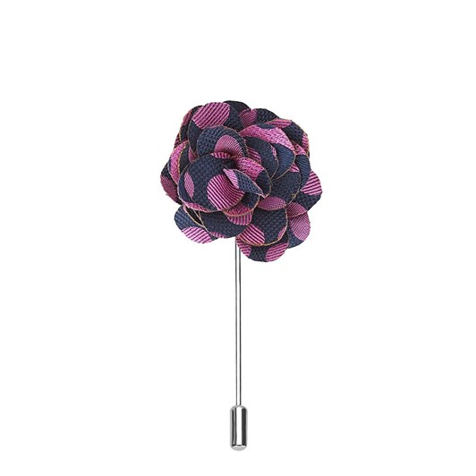 T.M.Lewin Navy Pink Large Spot Flower Lapel Pin