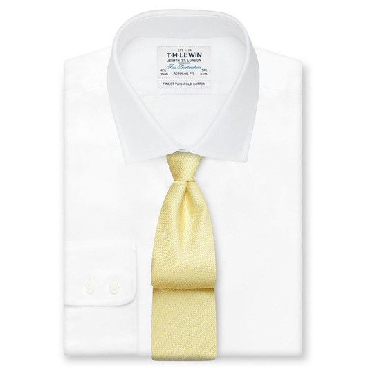 T.M.Lewin Micro Wave Yellow White Tie
