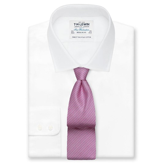 T.M.Lewin Micro Wace Pink White Tie