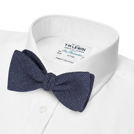 T.M.Lewin Wool Navy Textured Bow Tie