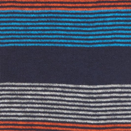 T.M.Lewin Fine Stripe Block Navy Orange Socks