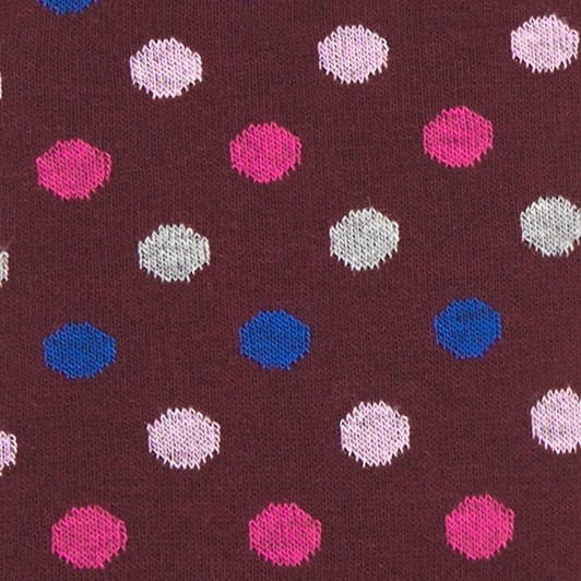 T.M.Lewin Large Multi Spot Burgundy Pink Socks