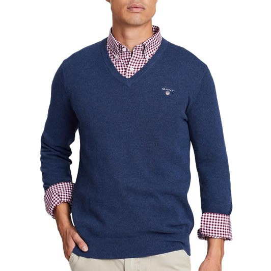 Gant Cotton Pique V-Neck