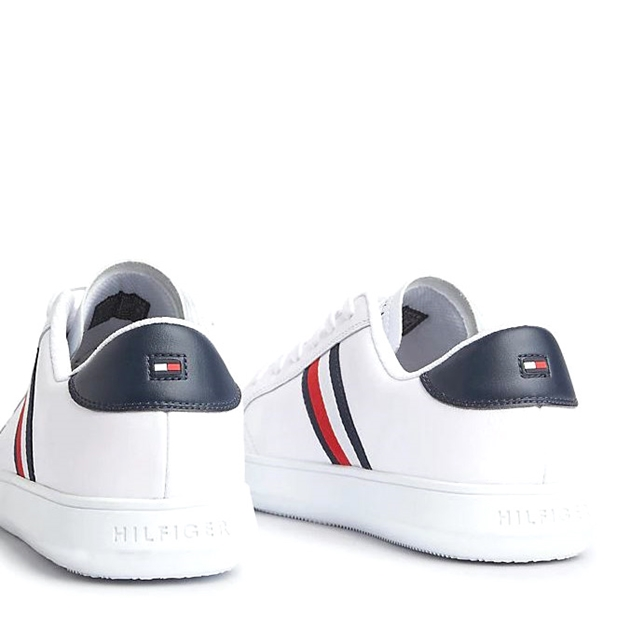Tommy Hilfiger Essential Leather Trainers - whitemidnight