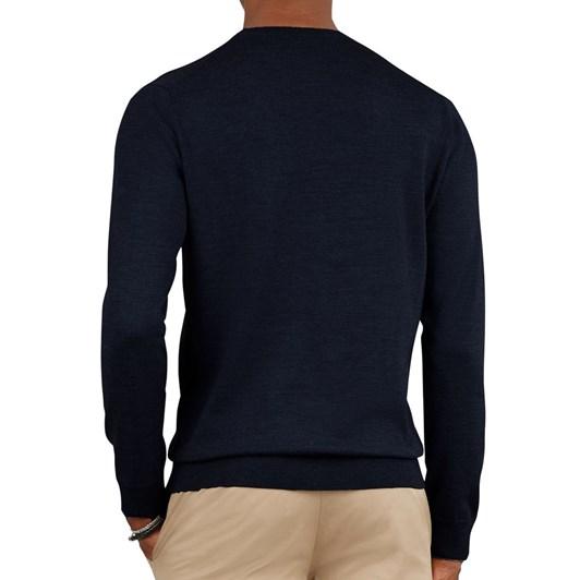 T.M.Lewin Merino Wool Navy Crew Neck Long Sleeve Top