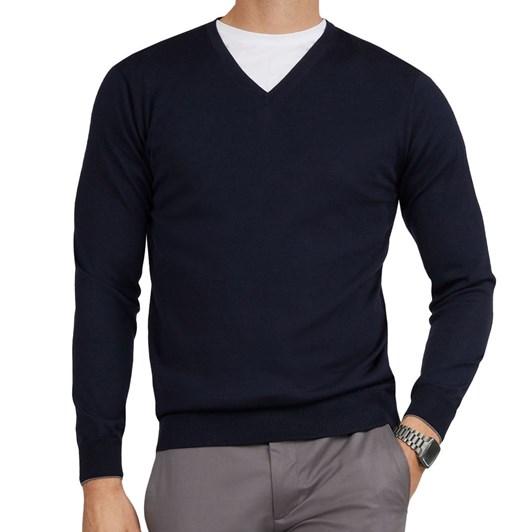 T.M.Lewin Merino Wool Navy V-Neck Long Sleeve Top