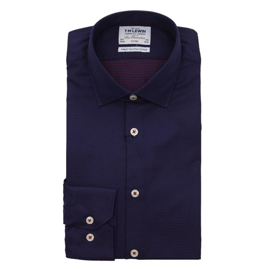 T.M.Lewin Textured Spot Nvy Red Single Cuff Fitted Shirt