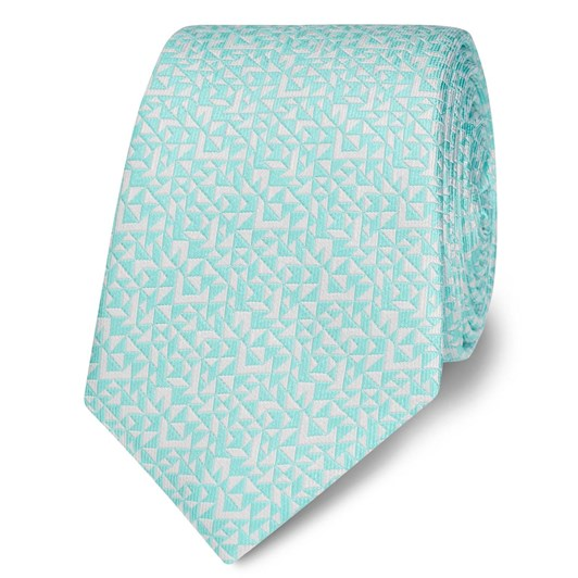 T.M.Lewin Abstract Triangle Mint White Tie