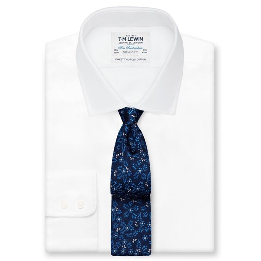 T.M.Lewin Leaf Motif Navy Blue Tie