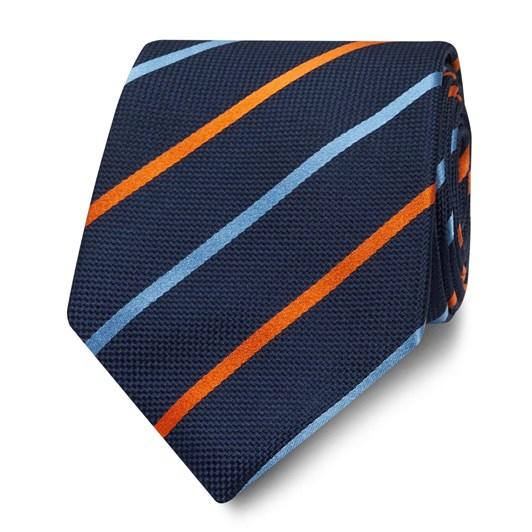 T.M.Lewin Navy and Orange Stripe Silk Wide Tie