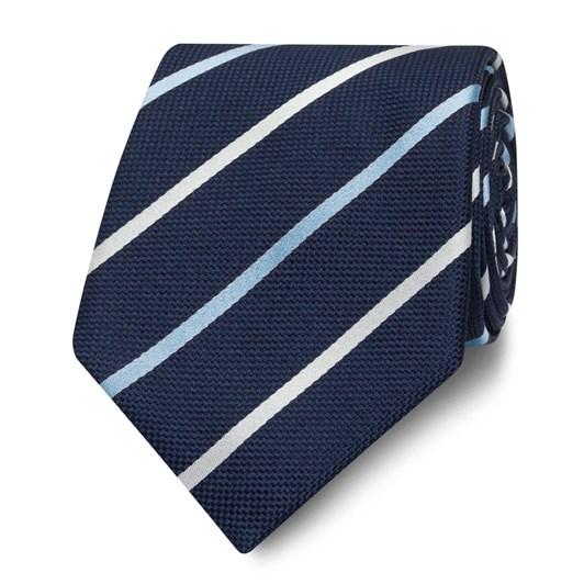 T.M.Lewin Navy and White Stripe Silk Wide Tie