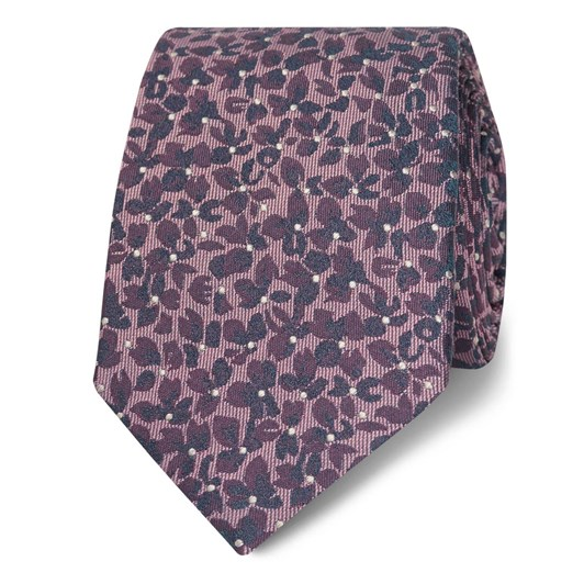 T.M.Lewin Burgundy Camo Floral Silk Slim Tie