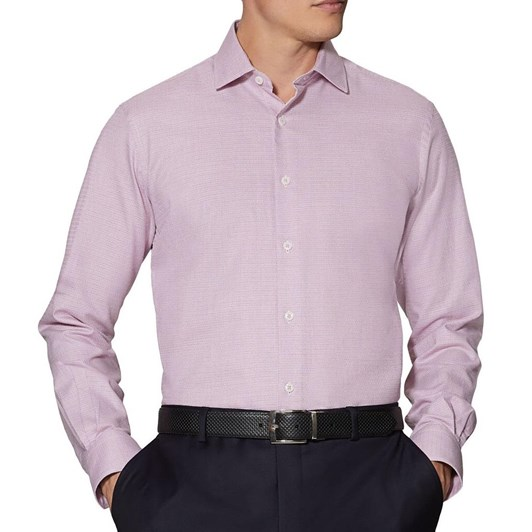 T.M.Lewin Textured Berry Single Cuff Shirt
