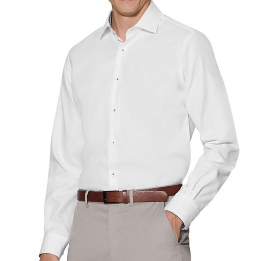 T.M.Lewin Textured White Single Cuff Shirt with Leaf Print Trim