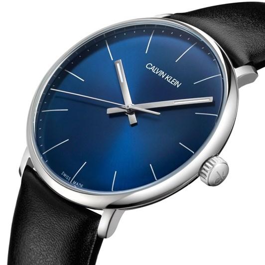 Calvin Klein High Noon Black Leather Watch Blue Dial