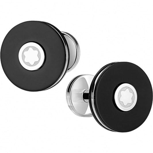 Montblanc Cuff Links, Round, Steel, Resin, Pix