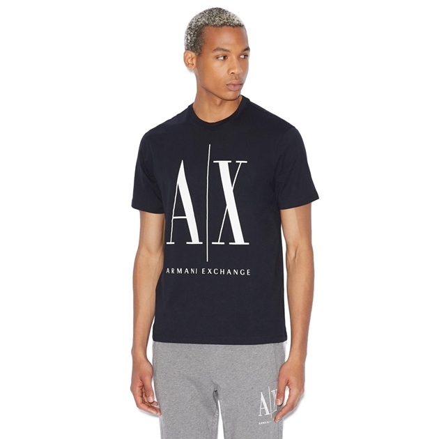 Armani Exchange Icon Logo Tee - navy