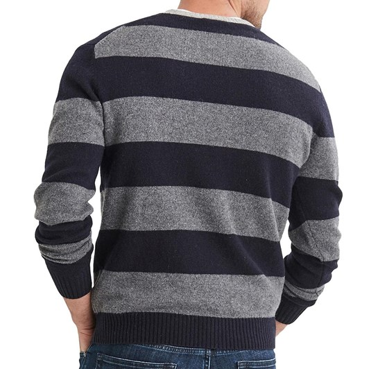 Blazer Logan Lambs Wool Block Stripe Crew Neck