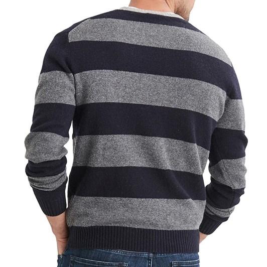 Blazer Logan Lambs Wool Block Stripe Crew Neck