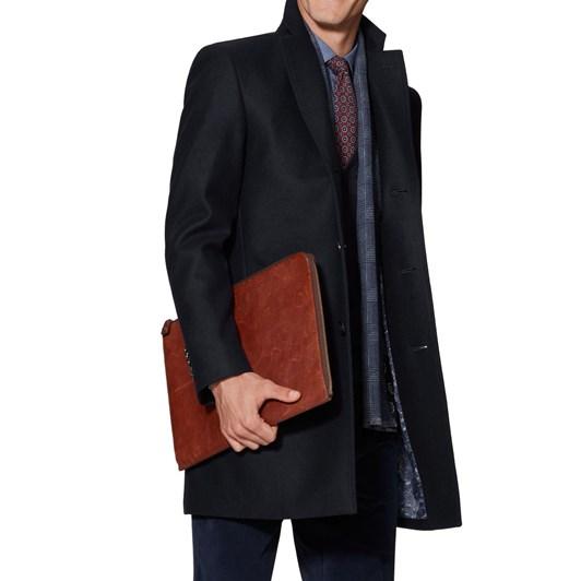 T.M.Lewin Buchanan Navy Wool Coat