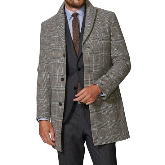 T.M.Lewin Ward Black Wht Check Coat