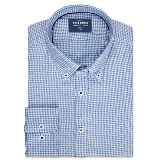 T.M.Lewin Dogtooth Check Blue Shirt