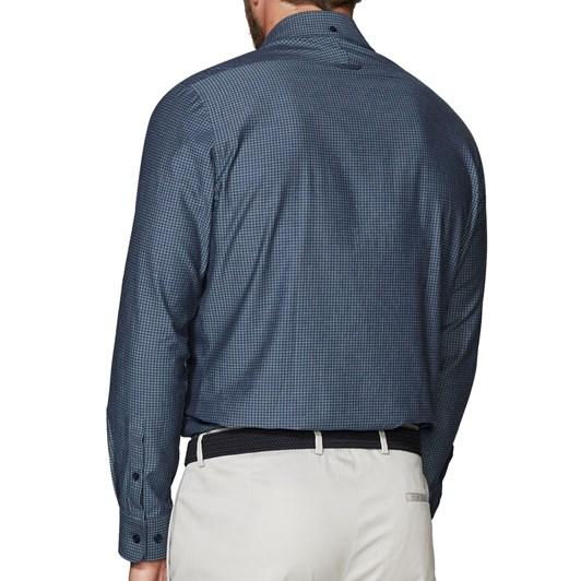 T.M.Lewin Indigo Dogtooth Navyshirt